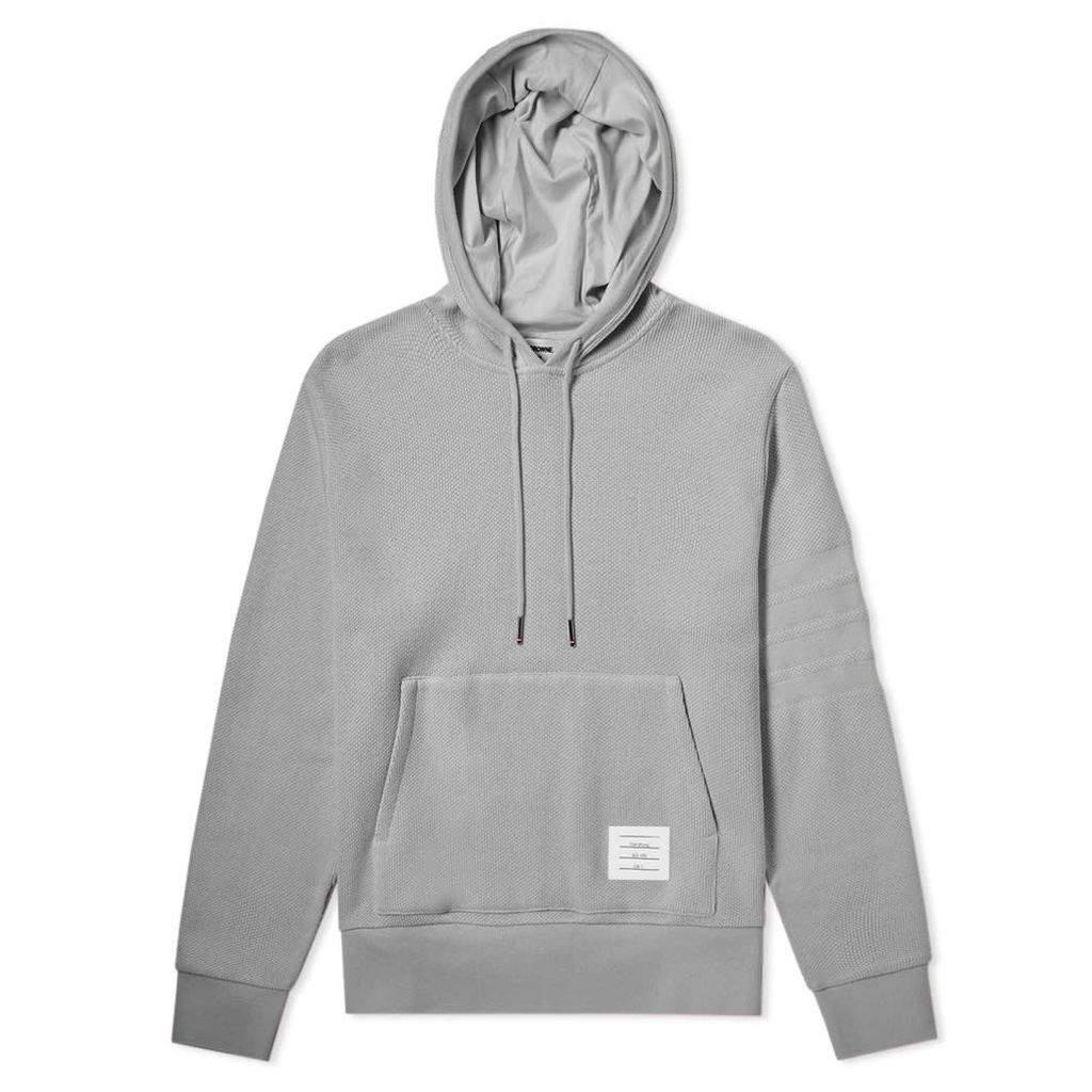 Thom Browne 4 Bar Pique Pullover Hoody Light Grey