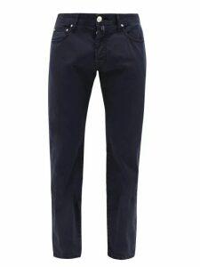 Jacob Cohën - Slim Leg Cotton Blend Chino Trousers - Mens - Blue