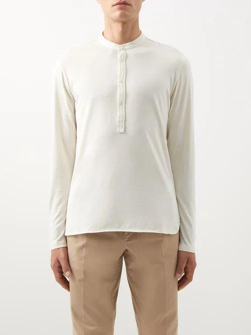 Lanvin - Mid Rise Slim Fit Cotton Trousers - Mens - Grey