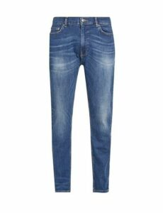 Mens Mid Blue Carter Tapered Fit Jeans, Blue