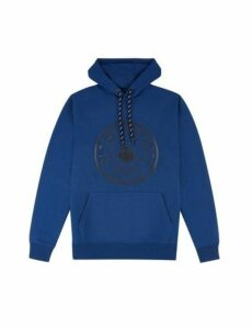 Mens Navy Overhead Hoodie With Hibuild Voyager Print, Blue