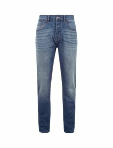 Mens Mid Wash Carter Tapered Fit Jeans, Blue