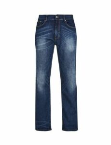 Mens Mid Blue Wyatt Relaxed Fit Jeans, Blue