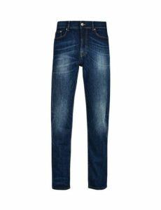 Mens Mid Blue Logan Straight Fit Jeans, Blue