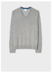 Men's Grey V-Neck Merino Wool Sweater
