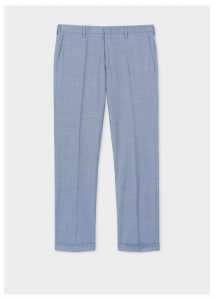 Men's Slim-Fit Blue Houndstooth Motif Wool Trousers