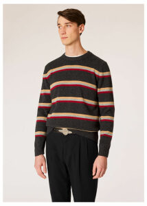 Men's Charcoal Grey Stripe Lambswool Sweater