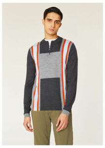 Men's Grey And Orange Colour-Block Merino-Wool Sweater With Half-Zip