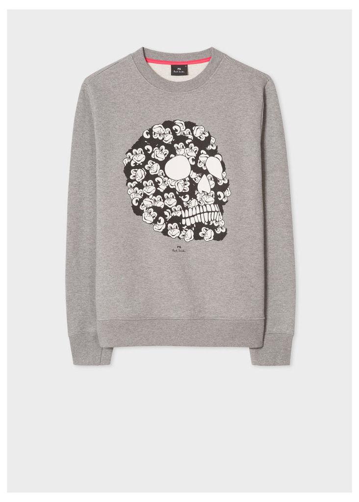 Men's Light Grey 'Monkey Skull' Print Organic-Cotton Sweatshirt