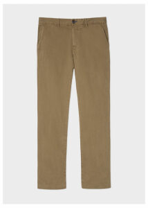 Men's Mid-Fit Light Brown Stretch-Cotton Chinos
