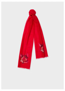 Men's Red 'Year Of The Pig' Motif Wool And Cashmere Scarf