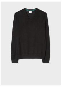Men's Black V-Neck Merino Wool Sweater