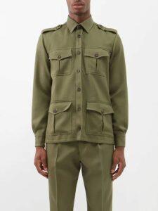 Prada - Belted Mohair Blend Straight Leg Trousers - Mens - Burgundy