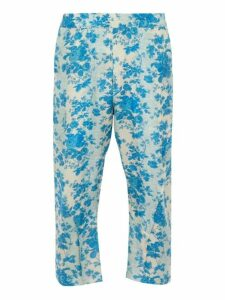 By Walid - Hiro Cropped Floral Print Silk Trousers - Mens - Blue White