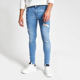 Mens River Island Mid Blue Ollie ripped spray on skinny jeans