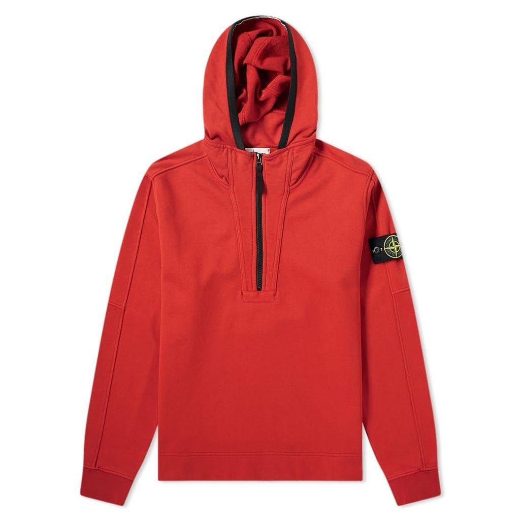 Stone Island Garment Dyed Half Zip Hoody Brick Red