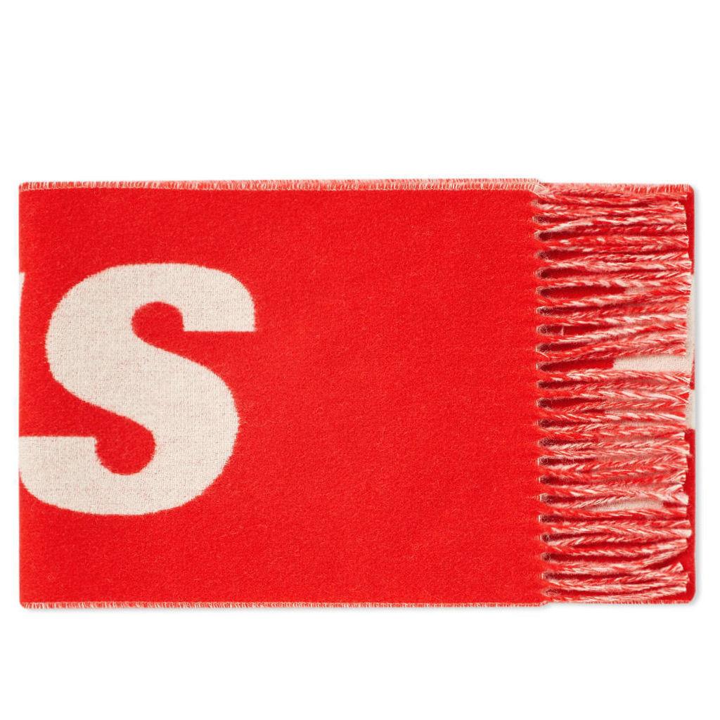 AMI Paris Logo Scarf White & Red