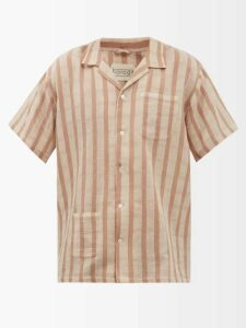 Inis Meáin - Donegal Hurler Two Button Linen Sweater - Mens - Beige