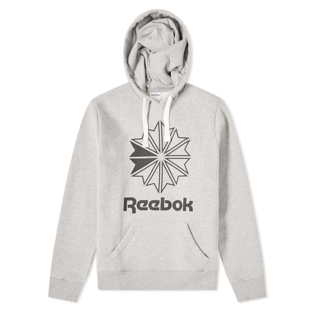 Reebok Big Starcrest Logo Hoody Medium Grey Heather