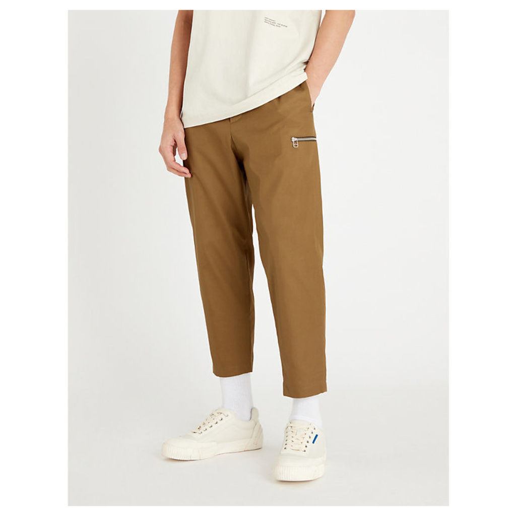 Relaxed-fit tapered cotton-twill trousers