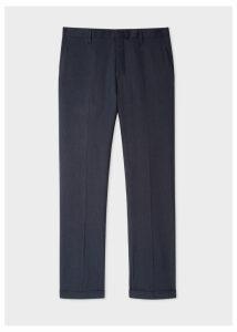 Men's Slim-Fit Dark Navy Marl Wool And Linen Trousers