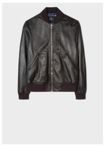 Men's Black Leather Bomber Jacket With Chest Pocket