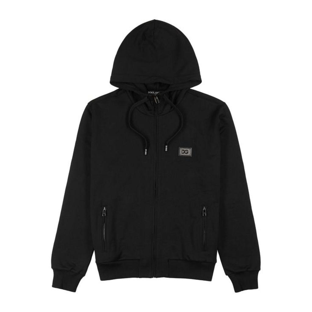 Dolce & Gabbana Black Hooded Stretch-cotton Sweatshirt