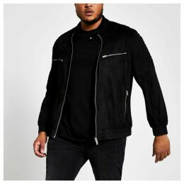 Mens River Island Big and Tall Black faux suede racer jacket