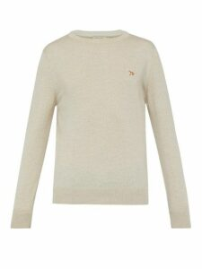 Maison Kitsuné - Logo Appliqué Wool Sweater - Mens - Beige