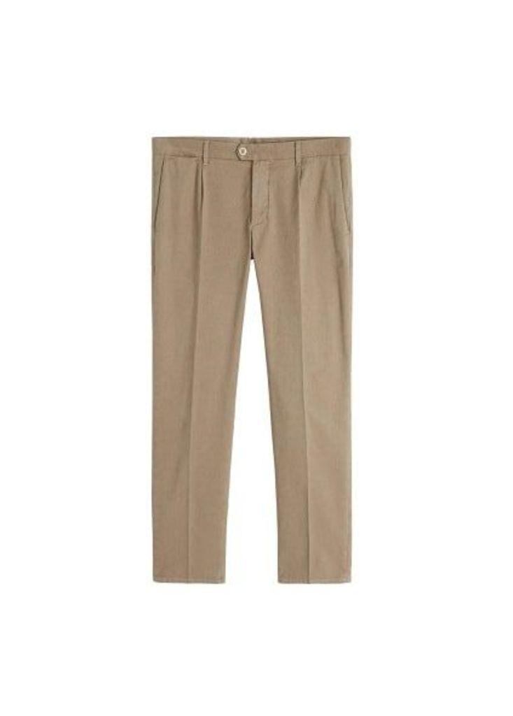 Regular-fit structured trousers