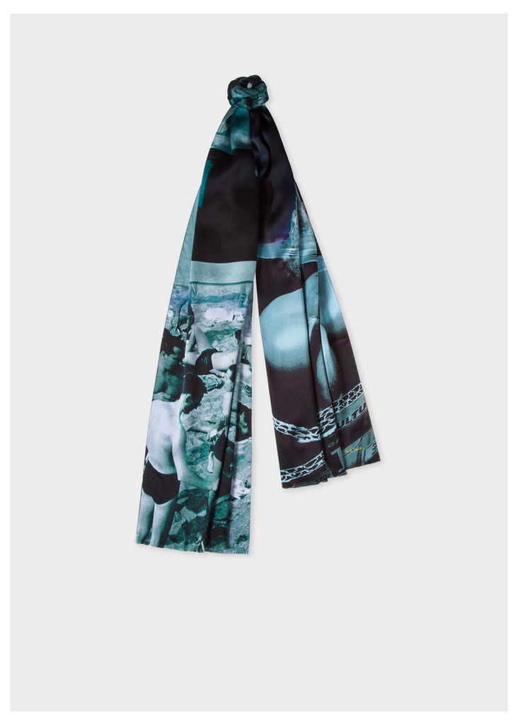 Men's Blue 'Paul's Photo' Print Silk Scarf