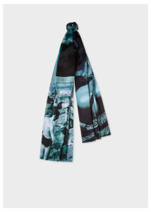 Men's Blue 'Paul's Photo' Print Silk Scarf
