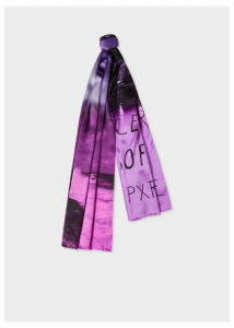 Men's Violet And Pink 'Paul's Photo' Print Silk Scarf