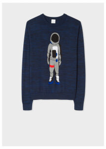 Men's Navy Marl 'People' Intarsia Cotton Sweater
