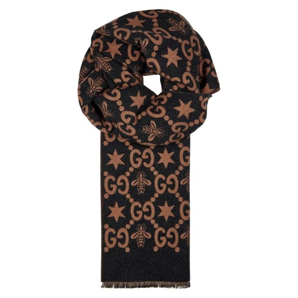 Gucci Two-tone Wool And Silk-blend Scarf