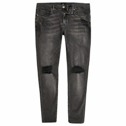 Mens River Island Black wash Ollie ripped knee spray on jeans