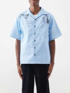 Y/project - Pinstripe Wool Cuff Cotton Trousers - Mens - Blue