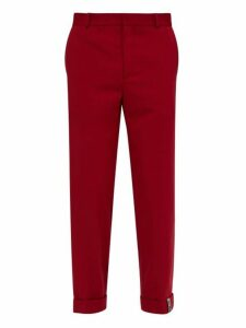 Y/project - Roll Up Cuff Wool Blend Trousers - Mens - Red