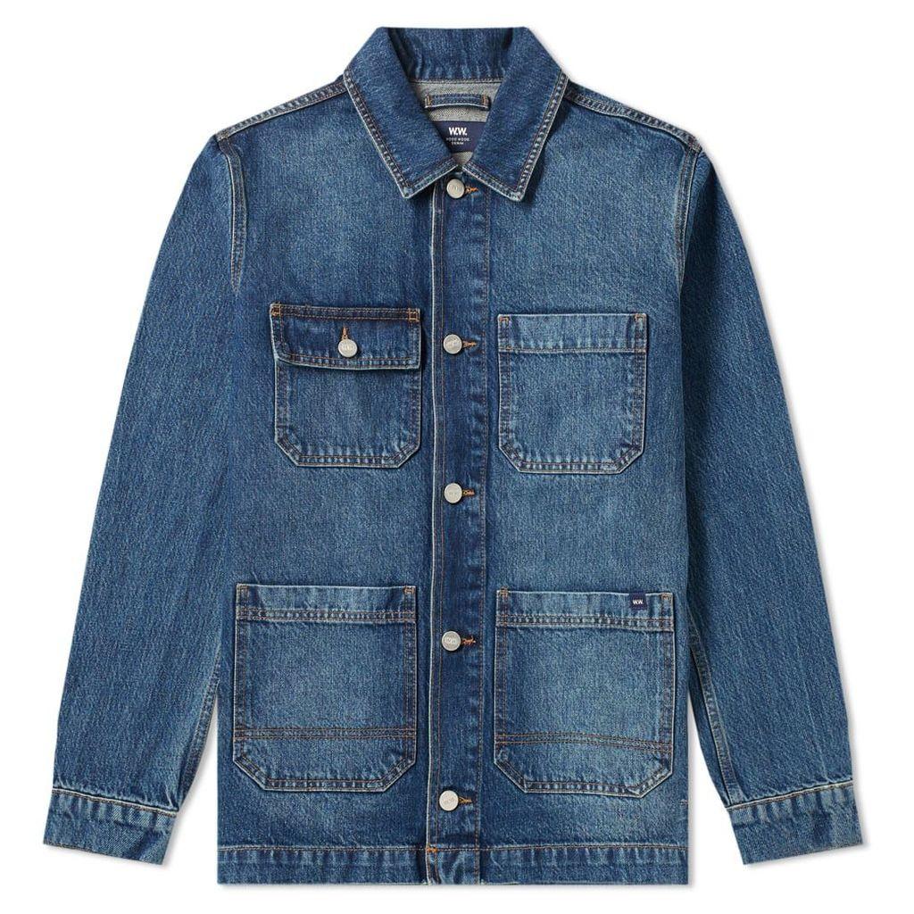 Wood Wood Gavin Chore Jacket Worn Blue