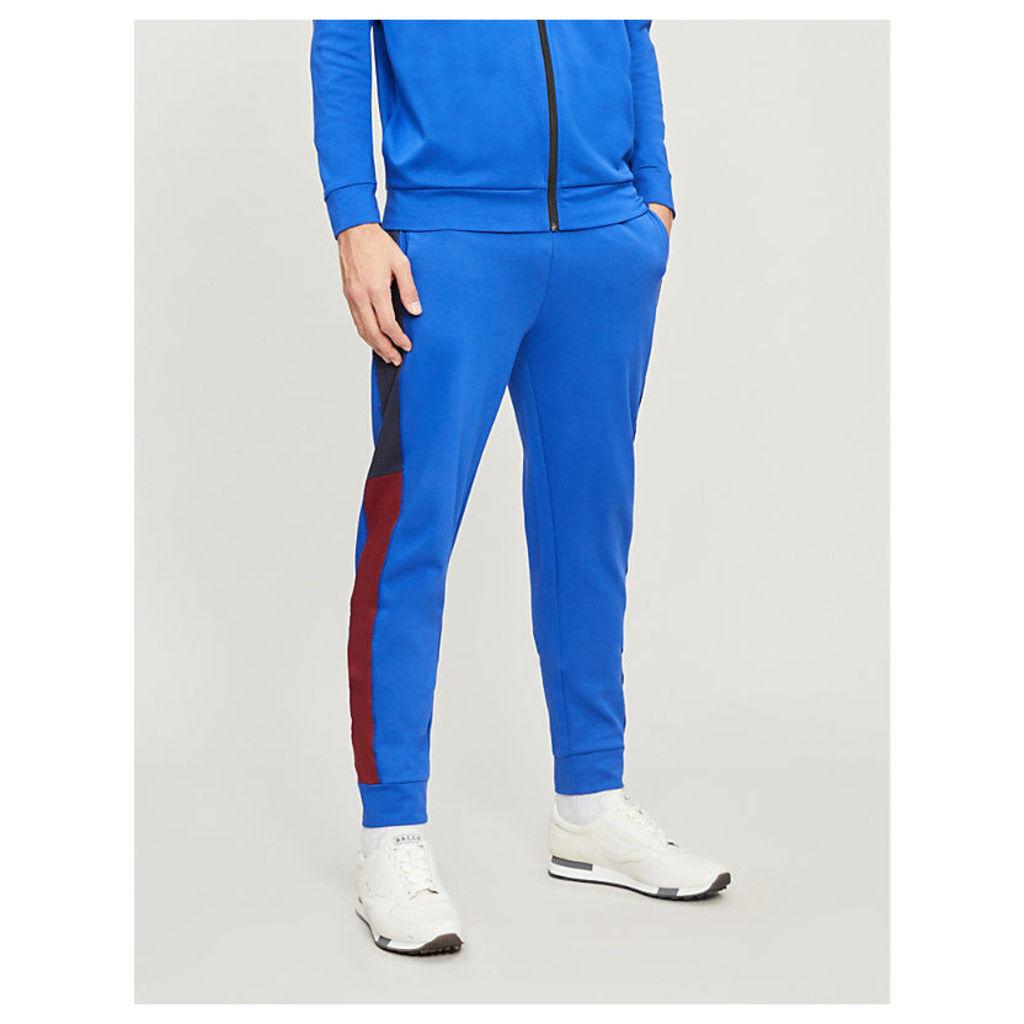 Contrast sides cotton-blend jogging bottoms