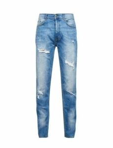 Mens Light Blue Carter Tapered Fit Jeans With Backed Rips, Blue
