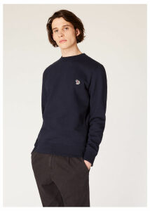 Men's Dark Navy Organic-Cotton Zebra Logo Sweatshirt