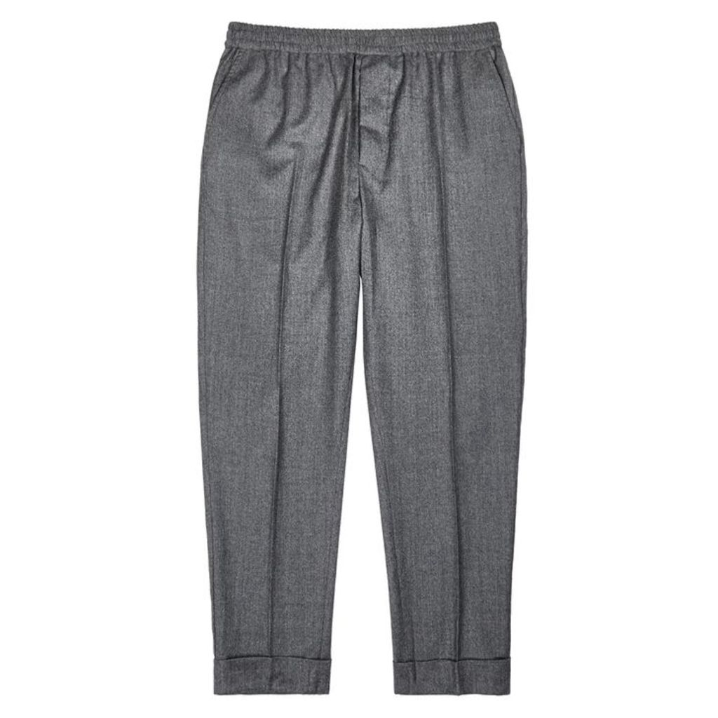 AMI Grey Tapered Wool Trousers