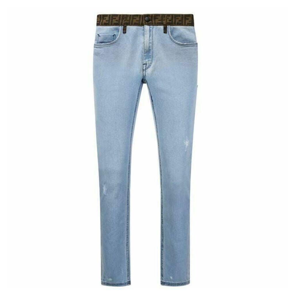 FENDI Ff Logo Waistband Jeans