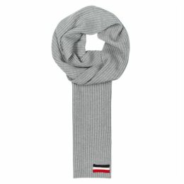 Moncler Grey Ribbed-knit Wool Scarf
