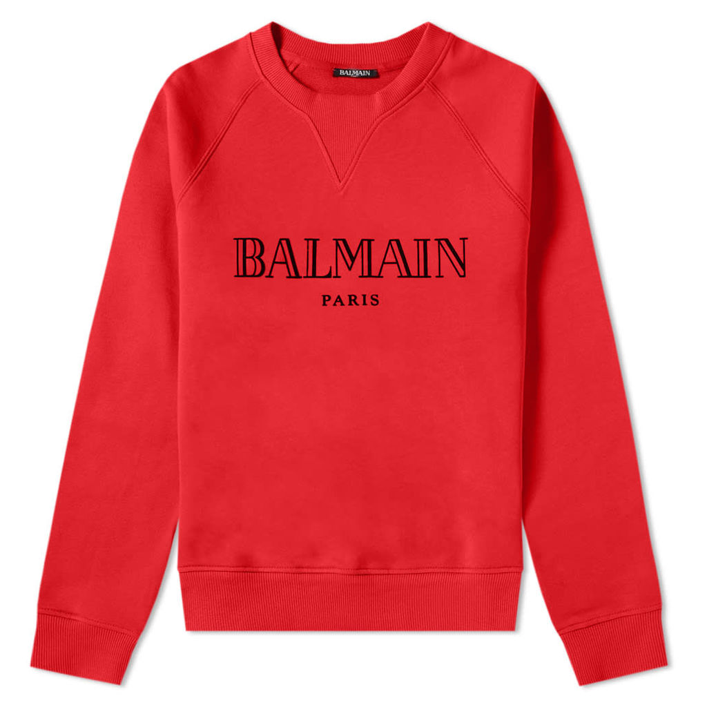 Balmain Text Logo Crew Sweat Red & Black