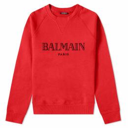 Balmain Text Logo Crew Sweat Red & Black
