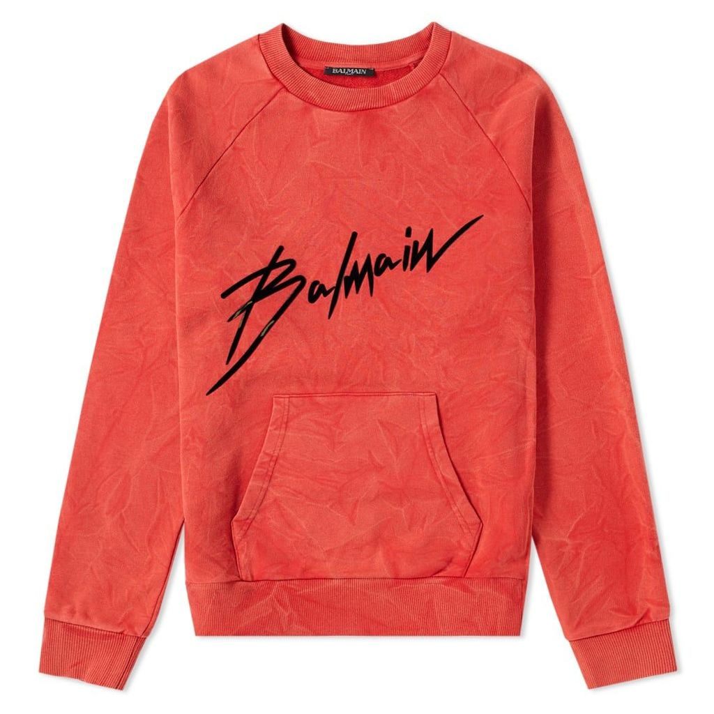 Balmain Crinkled Logo Crew Sweat Red