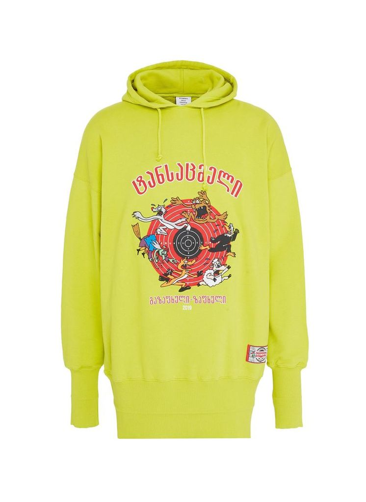 'Cartoon' slogan graphic print oversized unisex hoodie