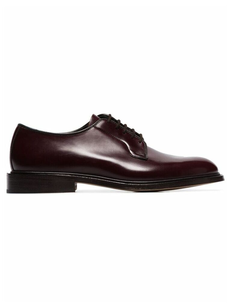 Trickers burgundy Robert patent leather lace up shoes - Red